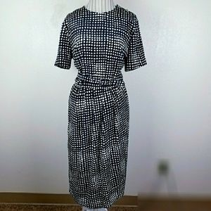 Vintage Leslie Fay Belted Black & White Dress